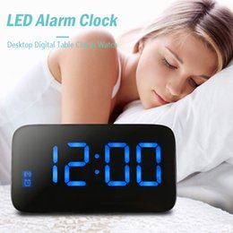 Wholesale Large Display Led Clock - LED Alarm Clock Large LED Display Voice Control Electronic Snooze Backlight Desktop Digital Table Clocks Watch With USB Cable