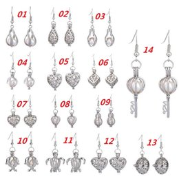 Wholesale Locket Chandelier - 2017 New Love Wish Pearl Cages Locket Earrings Freshwater Pearls Oyster Pendant Earrings (Excluding Pearl Canned)Hollow Out Dangle Earrings