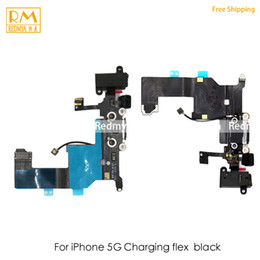 Wholesale Dock Connector Port Iphone Parts - 5pcs lot For iPhone 5G 5S USB Dock Charging Port Flex Cable Slot Charger Connector Board Ribbon Repair Replacement Phone Parts Original
