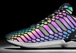 Wholesale Shoes Zx - (With Box) Retail ZX FLUX XENO The chameleon men's & women's shoes Boost Reflective Black Snake shoes sneakers on sale Sport Shoes Sneakers