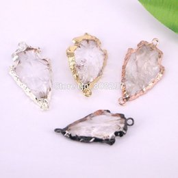 Wholesale Electroplated Beads - DIY 8PCS Nature Druzy Quartz Arrowhead Connector Beads,Electroplated Arrow Stone Beads Charms