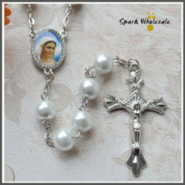 Wholesale Icons Catholic - Free Shipping Catholic White Pearl Rosary Necklace Ivory Glass Beads Religious Saint Icons Jesus Cross Rosary First Communion Baptism Favors