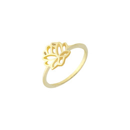 Wholesale Lotus Flower Jewelry Gold - Wholesale 10Pcs lot Free Shipping 2017 Trendy Flower Midi Rings Zinc Alloy Jewelry Lotus Gold Filled Rings Size 6.75 Mother's Day Gifts