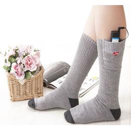 Wholesale Heat Socks - Wholesale- 3.7V 2200MAH Unisex Winter Electric Rapid Heating Soft Socks Rechargeable Smart Battery Cotton Spandex Sock