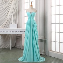 Wholesale Pink Aquamarine - Aquamarine Cheap Bridesmaid Dresses 2017 Strapless Beads Chiffon Off the Shoulder Floor Lengt Maid of the Honour Plus Size Dress for Wedding