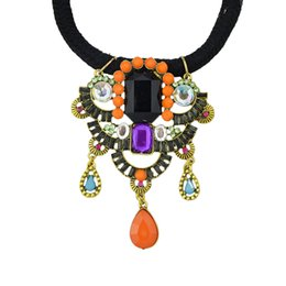 Wholesale Party Decorations Fashion - Fashion Braided Rope Maxi Necklace Collar Ethnic Jewelry Simulated Gemstone Decoration Boho Necklace Colorful Turkish Jewelry