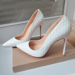 Wholesale Snake Print Dresses - Free shipping white python snake leather point toe high heels thin heels shoes pumps bride wedding shoes 100mm