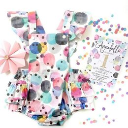 Wholesale Colorful Girl Clothes - 2017 Summer New Baby Girls Princess Bodysuits Colorful Dots Ruffles Sleeveless Backless Overalls Toddler Clothing E387