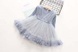 Wholesale Baby Blue Chiffon Dresses - Kids Girls Knit Sweater Dresses Baby girl lace TUTU Dress Autumn Winter Princess Embroidery Dress Gray Color