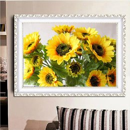 Wholesale Sunflower Paintings - 5D DIY Yellow Sunflower Photo Print Full of Diamond Painting Cross Stitch Kits Over drilling Home Decoration