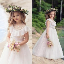 Wholesale Long Sleeve Frill Dress - Hand Made Flower Tulle Flower Girls Dresses For Wedding Lace Applique Frills Communion Birthday Pageant Dresses For Girls