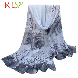 Wholesale Red Rose Scarf - Wholesale- Super 2016 winter scarf women Rose Pattern Chiffon Shawl Wrap Wraps Scarves 158*50CM #7