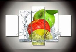 Canada Cuadros Décor Pommes Éclaboussures D'eau Groupe Peintures Modernes Images De Mur Sans Cadre Pour Le Salon 5 Pcs Modulaire Toile Peinture cheap apple paintings canvas Offre