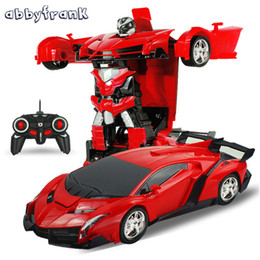 Wholesale Model Cars 18 - Abbyfrank RC Car Sports Car Models Transformation Robots Remote Control Deformation Car RC Robots Kids Toys Birthday Gifts