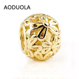 """Wholesale 7mm Round Beads - European Charm Beads Round Gold Plated Flower Pattern Carved Hollow 10mm x 7mm( 3 8""""x 2 8""""),Hole:Approx 5mm,10PCs (B29374)"""
