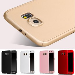 Wholesale Galaxy Hood - New Shockproof Front Back 360 Case For hood Samsung Galaxy S7 S6 Full Body Case Hard PC Hybrid Cover Accessories + Temper Glass Protector