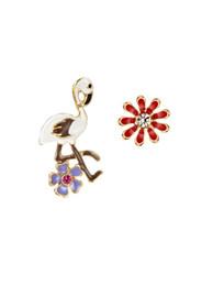 Wholesale Ear Stud Bird - Luxury Enamel Bird Flower Colorful Crystal Stud Earrings Romantic Women Ear Jewelry Gift 2017 New Neoglory