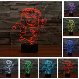 Wholesale Minions Despicable Toy - Sleeping kid light Despicable Me Minion Boy Christmas Gift 7 Color Chang Night Light Running Minions Touch Toy Lamp home bulb