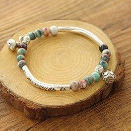Wholesale Pro Bead - Wholesale-Pro Women Tibetan Ceramics Silver Plated Handmade Vintage Chain Fashion Bracelet Beads