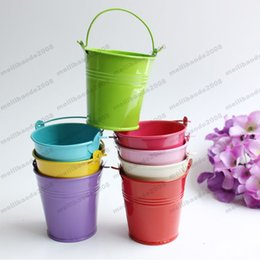 Wholesale Colorful Pails Wholesale - colorful rose red metal Flowerpots Planter Small Pails pure garden bucket tin box Iron pots FREE SHIPPING MYY