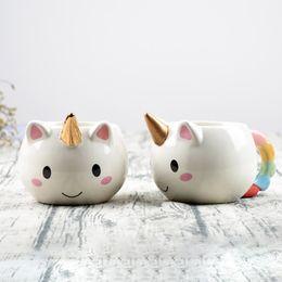 Wholesale Free Pottery - 2017 New Unicorn Mug 3D New Ceramic Coffee Cup Children Girl Boy Cute Creative Unicorn Mug cosplay Gift Free DHL XL-312