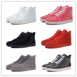 Wholesale Riding Sneakers - Hot Sale High Quality Luxury Brand Men Women High Black Wire Mesh With Spikes Shoes Red Bottom Sneaker Flat Riding RivetBoost Running Shoes