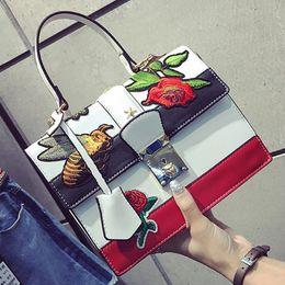 Wholesale Sling Satchel Bag - luxury handbags women bags designer flower bee Embroidery bag famous brands padlock party gift bag sling crossbody shoulder bags