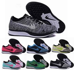 Wholesale Shoes For Women Free Shipping - Free Shipping Top Quality Fly Racer Running Shoes For Women & Men, Lightweight Breathable Athletic Outdoor Sneakers Eur 36-45
