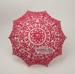 Wholesale Umbrella Blue Red - Lace Embroidery Parasols Hook Flower Vintage Design Pure Cotton Wedding Umbrella Handmade Wooden Handle Party Decoration Photo Props