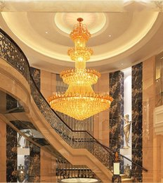 Wholesale Glass Floor Lamp - luxury Double floor crystal chandelier hotel lobby lamp villa living room Golden royal family Crystal Chandeliers interior decoration lights