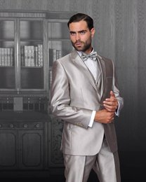 Wholesale Custome Made Suits - Wholesale- Shiny Silver Classic Fit Groom Tuxedos Best Man Groomsman Wedding Suits Party Wears Custome Made (Jacket+Pants+Vest)