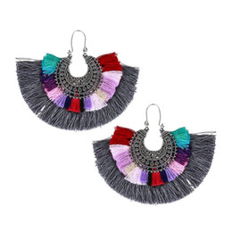 Wholesale Earring Resin Dangle - Vintage Long Tassel Drop Earring Resin Bohe Punk Ethnic Fashion Multicolor Cotton Thread Big Fan Shape Fringe Earrings For Wome Wholesale