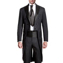 Wholesale Mens White Suits Tails - Men's wedding swallow-tailed coat prom party suits tuxedos fashion pure color mens wedding suits the grooms tuxedos(jacket+pants)
