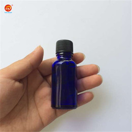 Wholesale small spice jars wholesale - Wholesale 15ml Small Blue Glass Bottles with Sealing up Stopper+Screw Cap Nail Polish Oil Bottles Glass Jars 24pcs lot