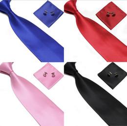 2019 großhandel gestreifte krawatten für männer Hersteller des Farbenanzugsmänner des Punktgroßverkaufs 15 kleiden Elementgitterbindungs-Taschentuch-Manschettenknopftaschentuch freies Verschiffen