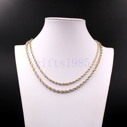 Wholesale String 6mm - 24inch Rope chain 5mm 6mm stainless steel necklace double tone Men's fashion style