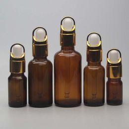 Wholesale 15ml Amber Dropper Bottle - Amber Glass E Liquid Oil Bottles 5ml 10ml 15ml 20ml 30ml 50ml 100ml Capacity Essential Oil  Perfume Bottles