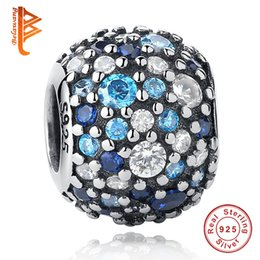 Wholesale Sterling Silver Ocean - BELAWANG 100% Real 925 Sterling Silver Ocean Mosaic Charm Beads Big Hole Beads Fit Pandora Charm Bracelets&Bangles Authentic Jewelry Gift