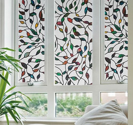 Wholesale Stain Glass Window Film - 45x100cm PVC 2016 New Colorful Leaf Static Cling Decorative Stained Glass Window Film Privacy Films Textured 45x100cm