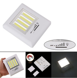 Wholesale Wireless Battery Led Lamp - Super Bright 8W 4 COB LED Light Wireless Wall Lamp Battery Operated Cordless Dimmer Switch Magnetic