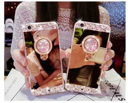 Wholesale Mirrors Covers - Luxury Handmade Bling Diamond Crystal Holder Case With Stand Kickstand Mirror Cover For iPhone X 8 Plus 7 6 6S Samsung S8 S7 edge Note 8
