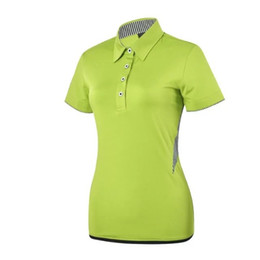 Wholesale Dry Fit Shirts Women - 2017 TI women's golf T shirts dry fit short sleeve Golf Shirts pure color summer quick dry Breathable sports Golf Wear for lady