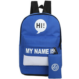 Wholesale Names Swimming - My name is backpack Hi letter school bag Cool word daypack Stylish rucksack Outdoor schoolbag Sport day pack