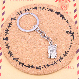 Wholesale Vintage Lucky Cats - New charming novelty Silver Color Metal Vintage Lucky cat Key Chains Accessory & Chrome plated Key Rings
