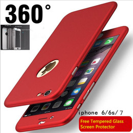Wholesale Iphone Front Glass Colors - 5 colors 360 degree Protective Case For iPhone x 5s 6 6S 7 8 Plus Free Tempered Glass Front Back Cover Full Body Coverage Protection Shells