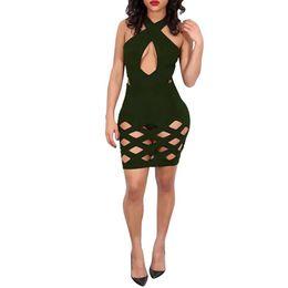 Wholesale Cheap Sexy Clubwear Dresses - 2017 Cheap Black Red Green Dark Blue Sky Blue Apricot Halter Sleeveless Sexy Women Dress Vestidos Clothing Clubwear