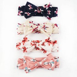 Wholesale Cotton Fabric Baby Headbands - 8 Pcs lot Baby Fabric Headband With Vantage Hair Bow Cute Cotton Headdress Pretty Infant Headbands Turban Knot