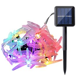 Wholesale Dragonfly Solar - Outdoor Solar Led String Light 5M 20 Led Dragonfly Solar Panel Strip Light IP65 Waterproof Garden Christmas Party Decoration