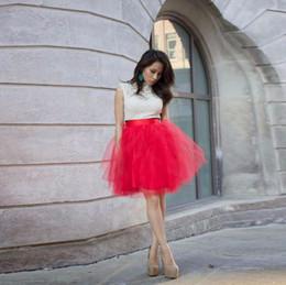 Alta calidad bastante rojo faldas de tul de las mujeres de satén con cremallera cintura longitud de la rodilla una línea falda del tutú de verano falda desde fabricantes