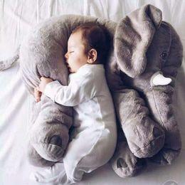 Wholesale Animal Pillow Blanket - Elephant Plush Toys Dolls Elephant Stuffed Animal Toys Throw Pillow With Blanket Elephant Baby Sleeping 5 Colors Factory Price